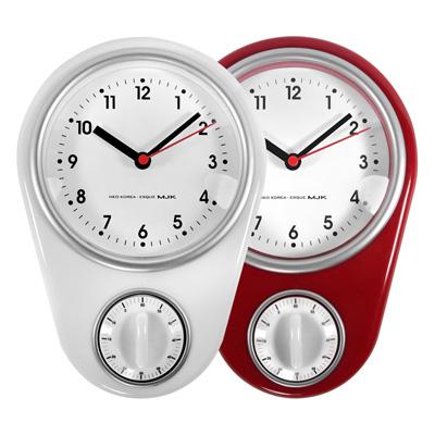 倒數計時 簡約時尚 現代居家 廚房 客廳 兒童房 靜音掛鐘 - 白/紅