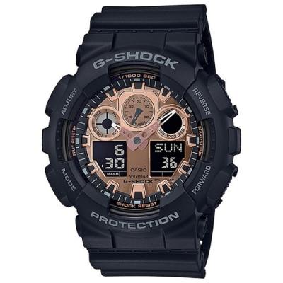 CASIO卡西歐 玫瑰金點綴G-SHOCK系列(GA-100MMC-1A)