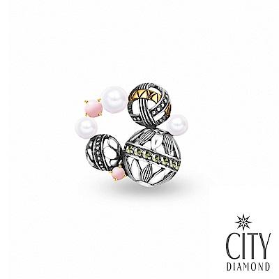 City Diamond引雅【東京Yuki系列】天然珍珠幾何圓形純銀/別針/徽章/墜子