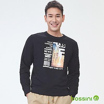 bossini男裝-印花厚棉運動衫11黑