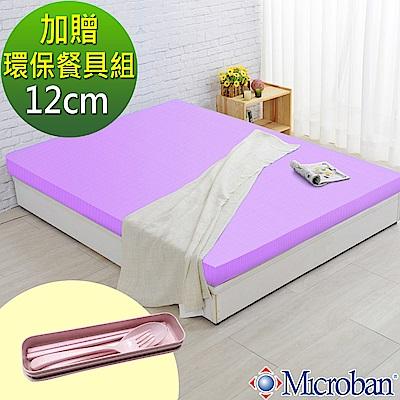 (贈環保餐具)單人3尺-LooCa 美國Microban抗菌12cm記憶床墊(紫)