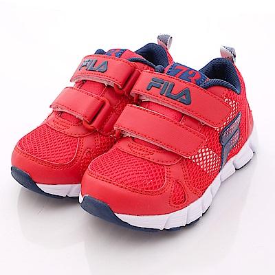 FILA頂級童鞋款 雙層輕量慢跑款EI23P-223紅藍(中童段)0