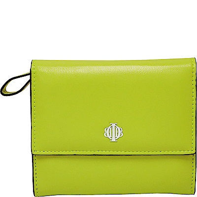 OBBI LAI 亮綠色小羊皮中夾皮夾錢包