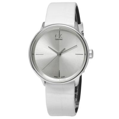 CK Accent 極簡約時尚瑞士機芯皮革手錶-銀x白/31mm