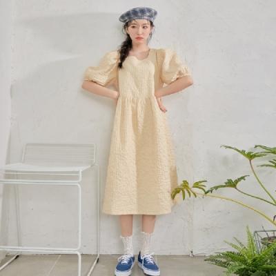 連身裙 氣質收腰質感五分袖洋裝OM83191-創翊韓都