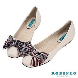 Robinlo 俏皮綁帶蝴蝶結方頭平底娃娃鞋 白