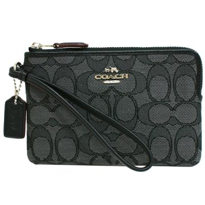 COACH 經典LOGO 織布手拿包零錢包(黑灰)