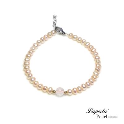 大東山珠寶 14K金櫻花粉珍珠能量寶石手鍊 粉晶