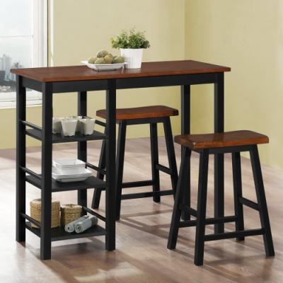 Boden-尼凱特3.7尺黑色吧台桌椅/休閒桌椅組合-一桌二椅-108x48x91cm