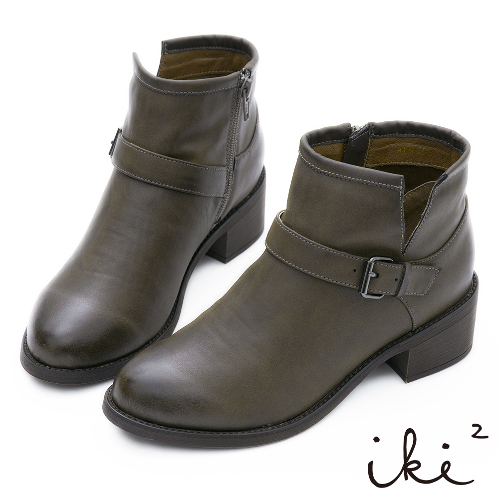 iki2 擦色復古側v扣環短靴-墨綠