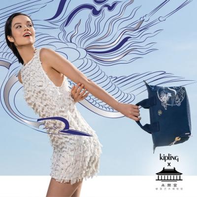 Kipling X 永樂宮聯名系列深藍底雲間盛境簡約手提肩背托特包-KALA MINI