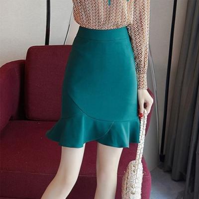 設計所在Lady-荷葉邊魚尾短裙一步A字包臀裙(S-XL可選)