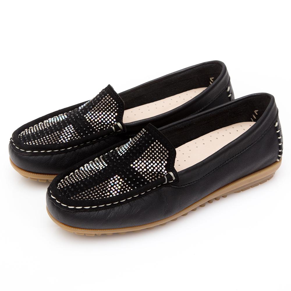 G.Ms. MIT系列-英倫造型燙鑽軟Q牛皮莫卡辛豆豆鞋-黑色