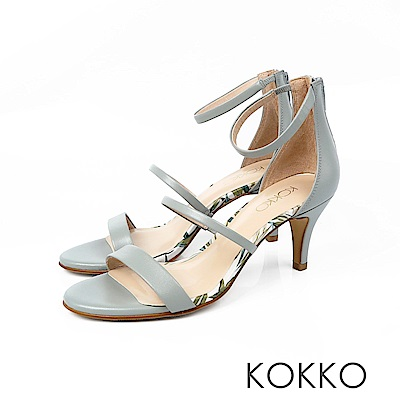 KOKKO - 凡爾賽玫瑰細帶羊皮高跟涼鞋 - 翻糖藍