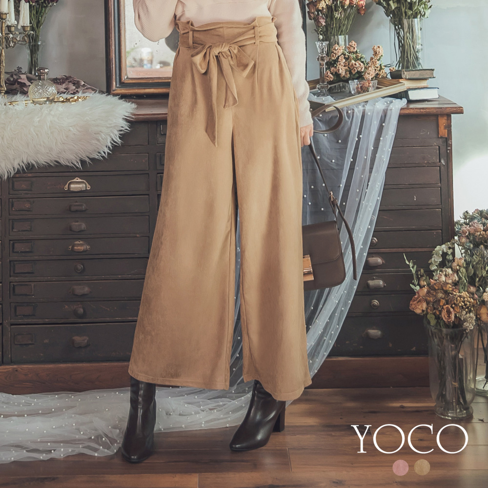 東京著衣-yoco 微熟優雅高腰綁帶絨面長褲-S.M.L(共二色)