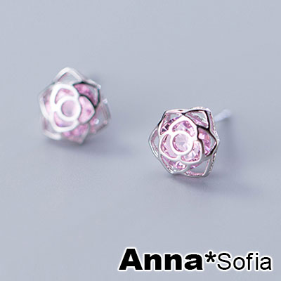 AnnaSofia 花鏤粉晶 925銀針耳針耳環(銀系)