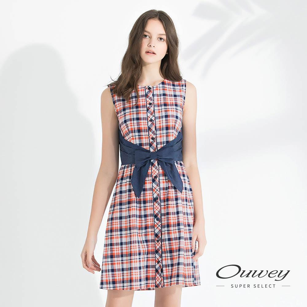 OUWEY歐薇 夏日格紋剪接牛仔純棉洋裝(桔)