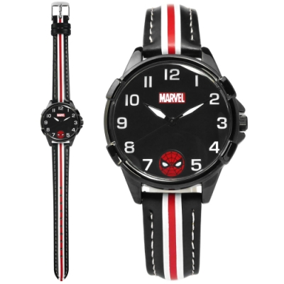 Disney 迪士尼 漫威系列 蜘蛛人 日本機芯 兒童錶 卡通錶 皮革手錶-黑色/32mm