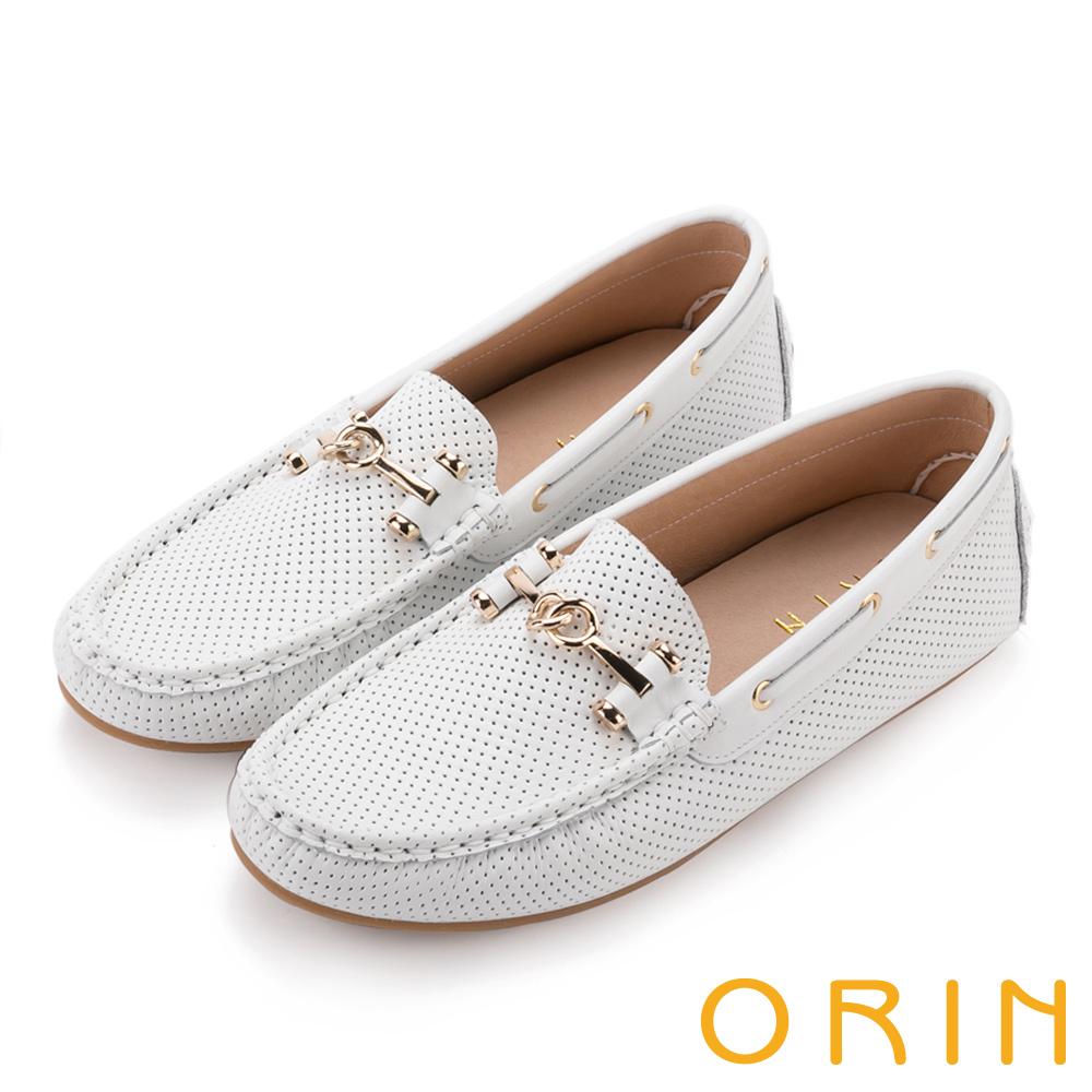 ORIN 牛皮金屬飾釦洞洞 女 平底鞋 白色
