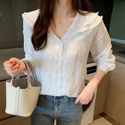 初色  韓版雙層領雪紡襯衫-白色-(M-2XL可選)