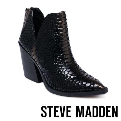 STEVE MADDEN-AYLSE 質感特殊紋粗跟踝靴-黑色