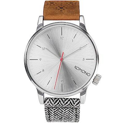 KOMONO Winston Galore 腕錶-人字針織混合錶帶/41mm