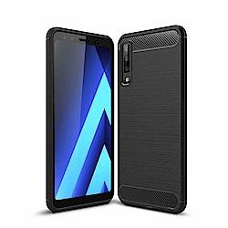 PKG 三星A7 2018手機殼-時尚碳纖紋路+抗指紋-精緻黑