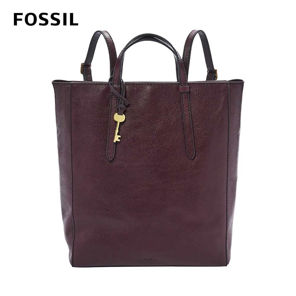 FOSSIL CAMILLA 真皮三用後背包(可置入13吋筆電)-無花果紫紅色 ZB7517503