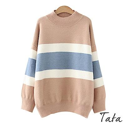半高領三色拼接針織上衣 共二色 TATA