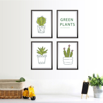 半島良品 DIY北歐風無痕壁貼 SK7089-植物盆栽框 50x70