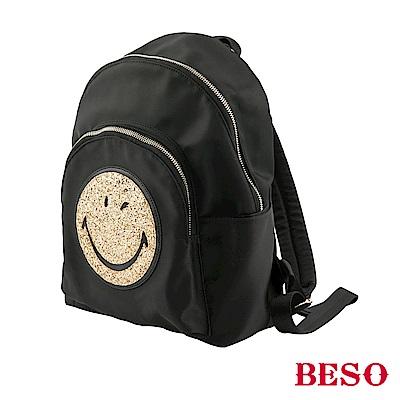 BESO 童趣玩心 BIG SMILE金蔥笑臉後背包~黑