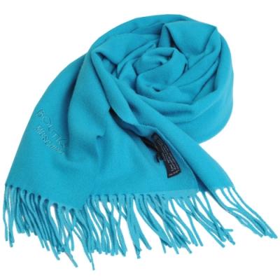 MOSCHINO BOUTIQUE 義大利製字母LOGO刺繡圖騰美麗諾羊毛圍巾(湖水藍)