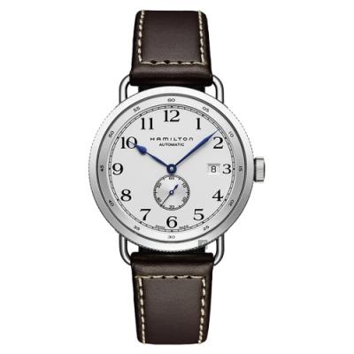 Hamilton漢米爾頓 卡其海軍小秒針機械錶-銀x咖啡/40mm