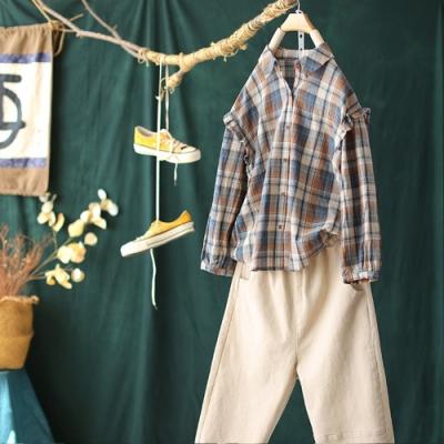 花邊格子襯衫長袖襯衣上衣三色可選-設計所在