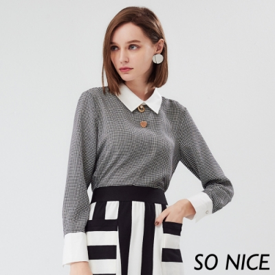 SO NICE奢華金屬釦千鳥紋雪紡上衣