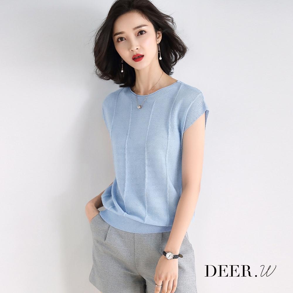 DEER.W 車線半袖金絲針織上衣(淺藍)