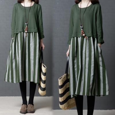【韓國K.W.】文藝簡約拼接條紋綁帶洋裝