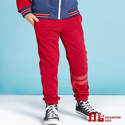 JJLKIDS 素面基本條紋運動褲(棗紅)