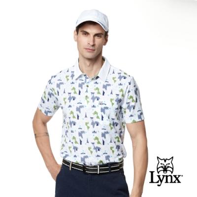 【Lynx Golf】男款蛀蟲紗世界景觀滿版印花胸袋款短袖POLO衫-灰色