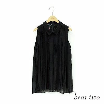 beartwo 無袖百折雪紡上衣(二色)