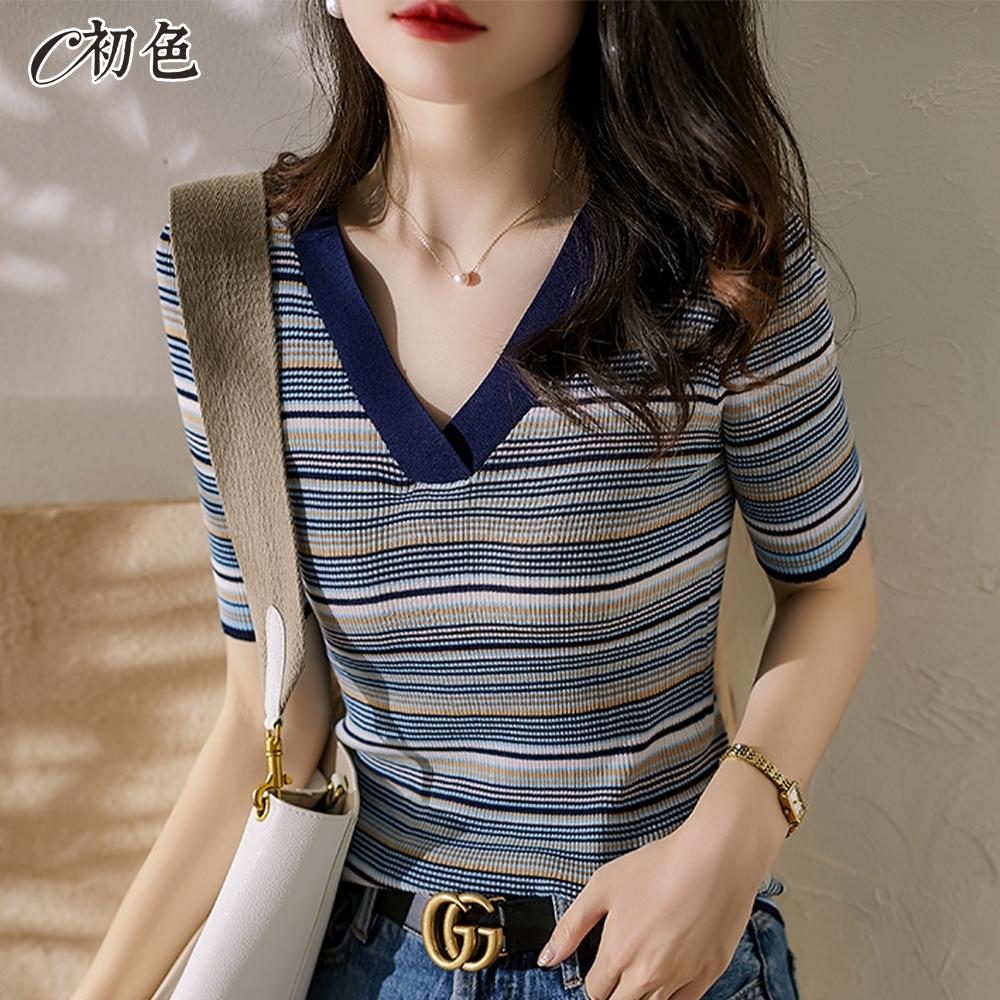 初色  V領條紋修身針織衫-條紋-(F可選)