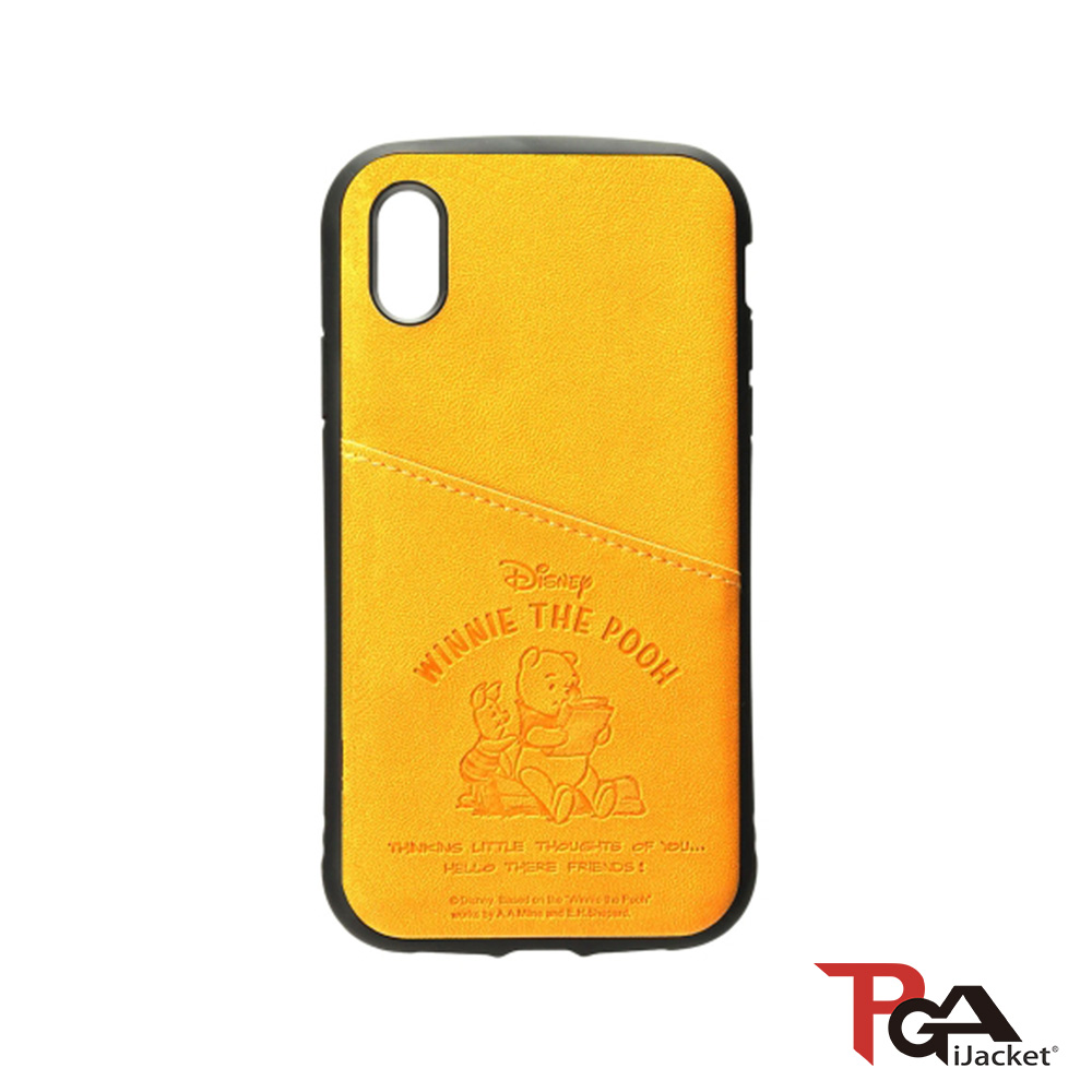 iPhone XS/XR  迪士尼 皮革斜口袋 軍規防撞 手機殼-維尼