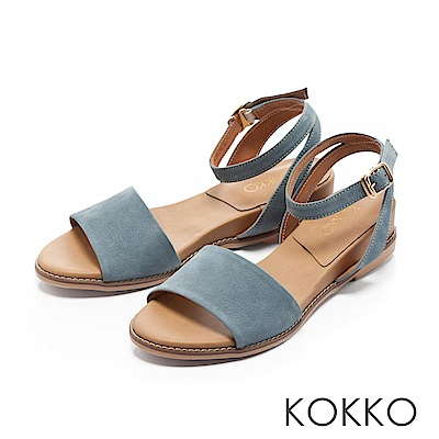 KOKKO-慵懶渡假繫帶寬版真皮涼鞋-泳池藍