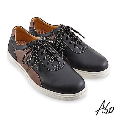 A.S.O機能休閒 輕量抗震拼色綁帶休閒鞋-黑