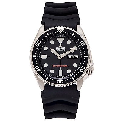 SEIKO 運動潛水機械錶(SKX007K1)-黑面x橡膠錶帶/40mm