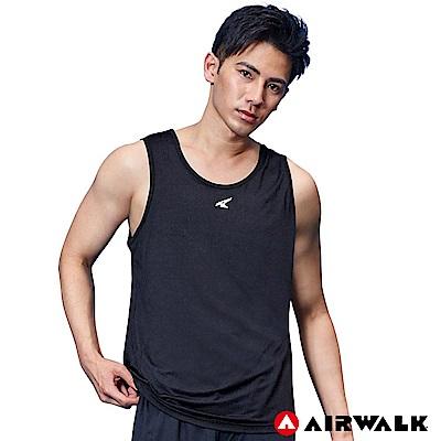【AIRWALK】男款運動吸排背心-黑色