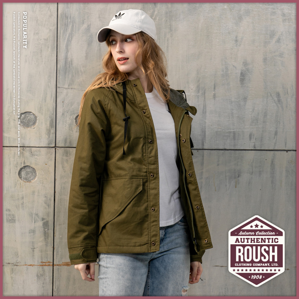 Roush 女生over size軍事工裝鋪棉連帽風衣外套(2色)