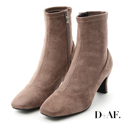 D+AF 時尚話題.素面絨料合腿高跟襪靴*灰棕