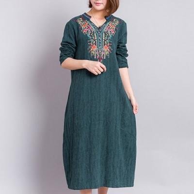 【韓國K.W.】民族風精緻刺繡棉麻顯瘦洋裝