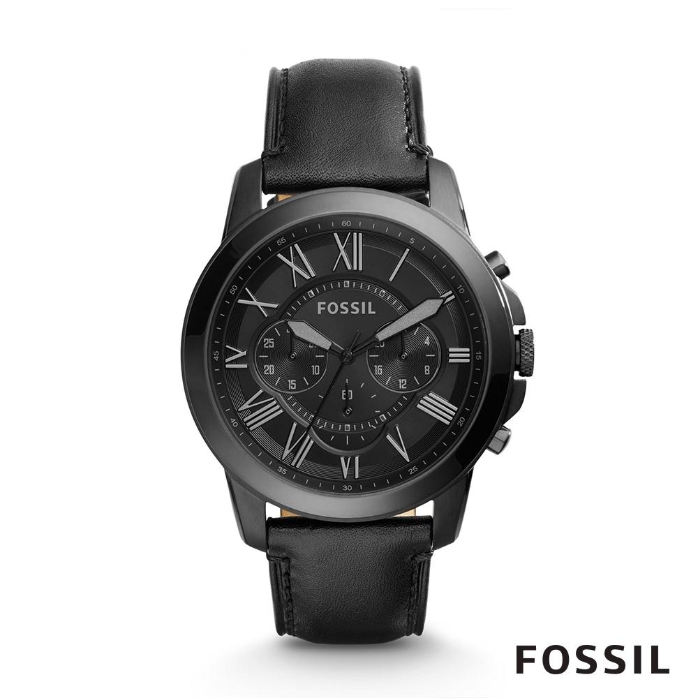FOSSIL GRANT 黑色帥氣皮革計時男錶 45mm FS5132IE